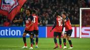Lille's French forward Jonathan Ikone (2R) celebrates with team mates after scoring a goal during the UEFA Champions League Group H football match between Lille OSC (LOSC) and Valencia CF at the Stade Pierre-Mauroy in Villeneuve-d'Ascq, near Lille, on October 23, 2019. (Photo by FRANCOIS LO PRESTI / AFP) (Photo by FRANCOIS LO PRESTI/AFP via Getty Images)