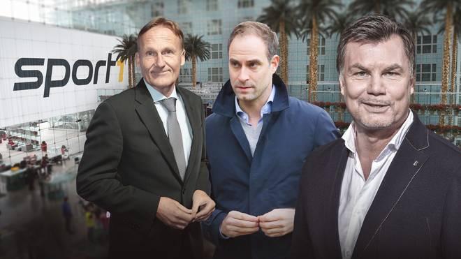 Thomas Helmer (r.) begrüßt Hans-Joachim Watzke (l.) vom BVB und Oliver Mintzlaff von RB Leipzig im CHECK24 Doppelpass