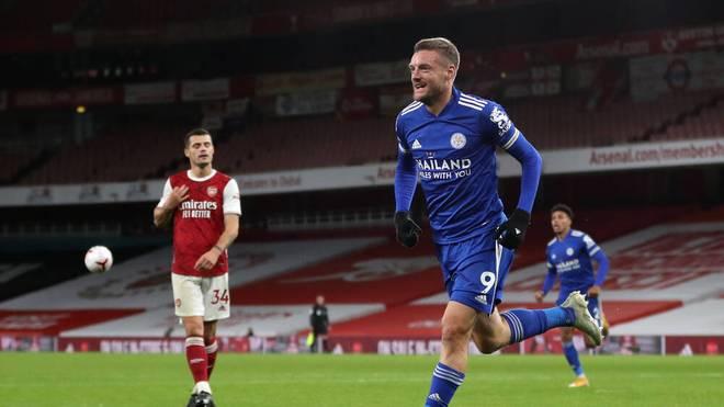 Jamie Vardy erzielte sein elftes Tor gegen den FC Arsenal