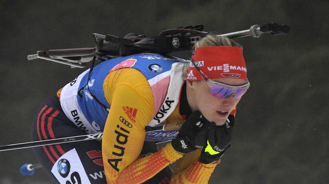 Germany's Denise Herrmann competes in the women's 7.5km sprint event at the Biathlon World Cup in Oberhof on January 9, 2020. - Denise Herrmann finished second. (Photo by Tobias SCHWARZ / AFP) (Photo by TOBIAS SCHWARZ/AFP via Getty Images)