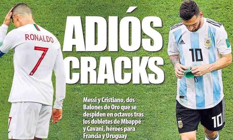 Die Superstars Cristiano Ronaldo und Lionel Messi verabschieden sich schon im Achtelfinale von der WM. Die Reaktionen reichen von Trauer über Spott bis hin zur Ungläubigkeit. SPORT1 zeigt internationale Pressestimmen