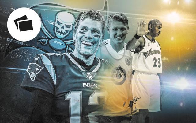 Tom Brady, Bastian Schweinsteiger und Michael Jordan (v.l.) sorgten mit späten Wechseln für Aufsehen