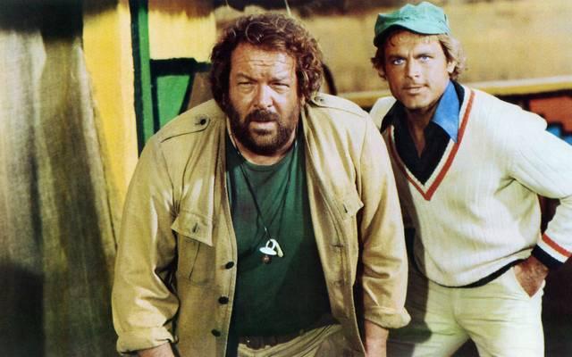 """Bud Spencer (l.) und Terence Hill im Film """"Das Krokodil und sein Nilpferd"""""""