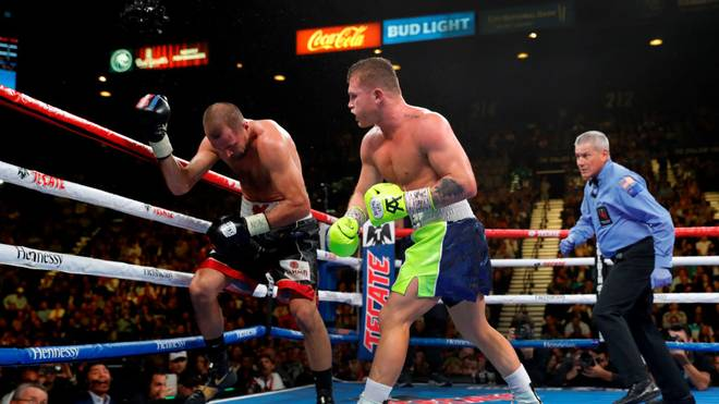 LAS VEGAS, NEVADA - NOVEMBER 02: Canelo Alvarez (C) knocks out Sergey Kovalev in the 11th round of their WBO light heavyweight fight as referee Russell Mora looks on at MGM Grand Garden Arena on November 2, 2019 in Las Vegas, Nevada. (Photo by Steve Marcus/Getty Images)
