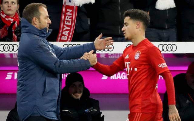 MUNICH, GERMANY - DECEMBER 14: Hans-Dieter Flick, head coach of FC Bayern Muenchen reacts with his player Philippe Coutinho during the Bundesliga match between FC Bayern Muenchen and SV Werder Bremen at Allianz Arena on December 14, 2019 in Munich, Germany. (Photo by Alexander Hassenstein/Bongarts/Getty Images)
