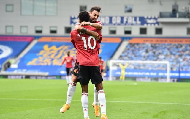 Marcus Rashford feiert sein geniales Siegtor für Manchester United in Brighton