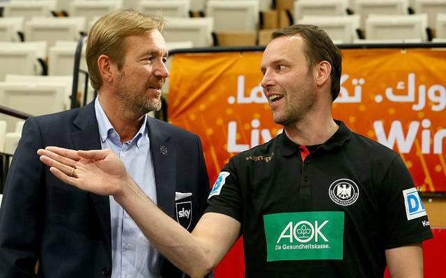 Martin Schwalb (l., hier mit Dagur Sigurdsson) hätte sich auch den Job als Bundestrainer gut vorstellen können