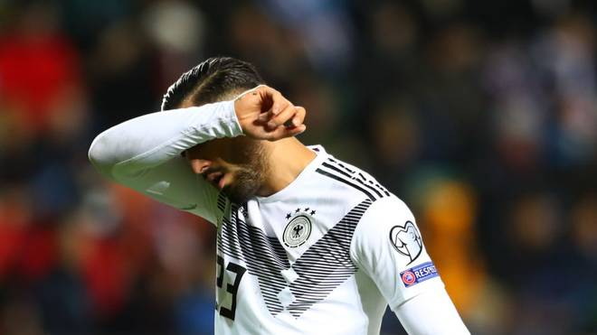 TALLINN, ESTONIA - OCTOBER 13: Emre Can of Germany leave the field after being sent off during the UEFA Euro 2020 qualifier between Estonia and Germany on October 13, 2019 in Tallinn, Estonia. (Photo by Martin Rose/Bongarts/Getty Images)