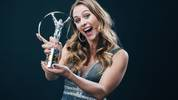 BERLIN, GERMANY - FEBRUARY 17: Laureus World Comeback of the Year winner Sophia Floersch poses with the trophy at the Verti Hall during the 2020 Laureus World Sports Awards on February 17, 2020 in Berlin, Germany. (Photo by Simon Hofmann/Getty Images for Laureus)