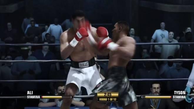 Muhammad Ali (l.) kassiert einen harten Treffer von Mike Tyson