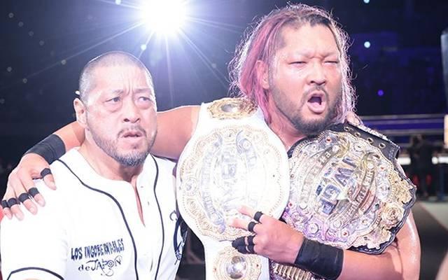 EVIL (r.) gewann mit Hilfe von Dick Togo die beiden Top-Titel von NJPW