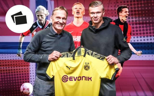 BVB-Geschäftsführer Hans-Joachim Watzke (v.l.) verknüpft mit Erling Haaland hohe Erwartungen