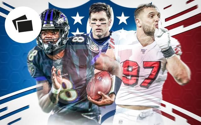 Lamar Jackson, Tom Brady und Nick Bosa (v.l.) kämpfen um den Einzug in den Super Bowl