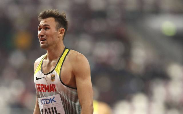 DOHA, QATAR - OCTOBER 03: Niklas Kaul of Germany reacts after the Men's Decathlon 1500 Metres and winning gold during day seven of 17th IAAF World Athletics Championships Doha 2019 at Khalifa International Stadium on October 03, 2019 in Doha, Qatar. (Photo by Patrick Smith/Getty Images)