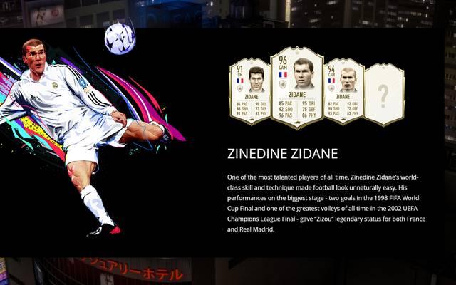 Zinedine Zidane ist eine der spielbaren Legenden im FUT-Modus von FIFA 20