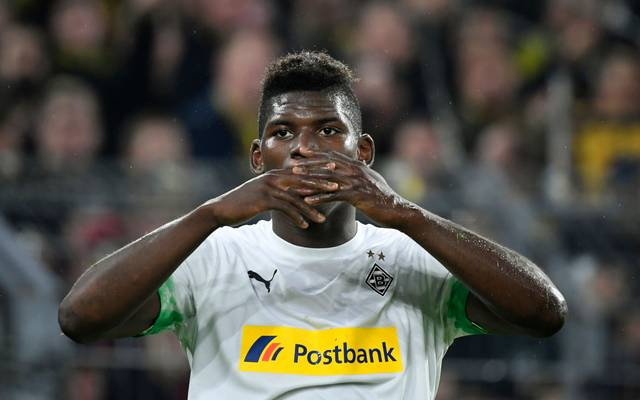 Moenchengladbach's Swiss forward Breel Embolo reacts during the German first division Bundesliga football match BVB Borussia Dortmund v Borussia Moenchengladbach in Dortmund, western Germany on October 19, 2019. (Photo by Ina FASSBENDER / AFP) / RESTRICTIONS: DFL REGULATIONS PROHIBIT ANY USE OF PHOTOGRAPHS AS IMAGE SEQUENCES AND/OR QUASI-VIDEO (Photo by INA FASSBENDER/AFP via Getty Images)