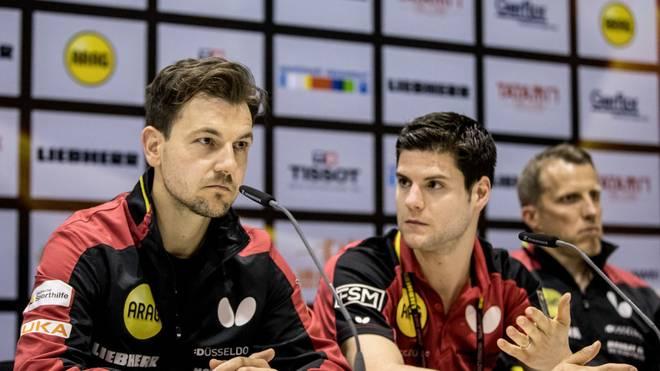 Timo Boll (l.) und Dimitrij Ovtcharov treffen in Linz aufeinander
