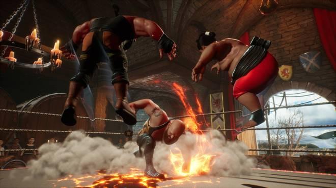 Feuer frei! In WWE 2K Battlegrounds fliegen die Fetzen