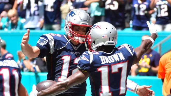 Antonio Brown (r.) und Tom Brady (l.) spielten bereits bei den New England Patriots zusammen