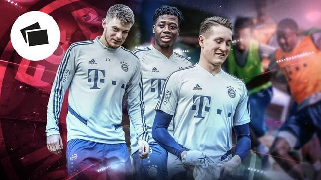 Mit dem FC Bayern in Doha: Lars Lukas Mai, Bright Arrey-Mbi und Ron-Torben Hoffmann (v.l.)