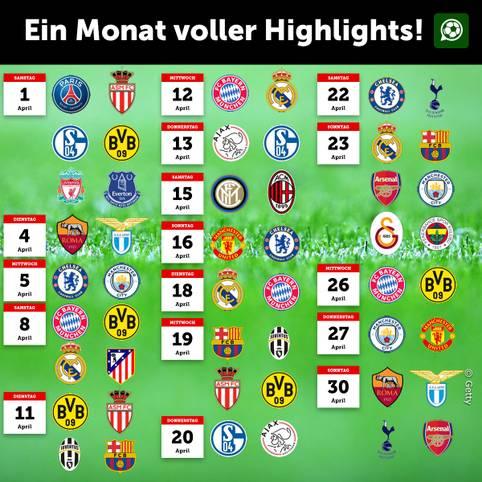 Clasico in Spanien, Derbys in England, Gigantenduell in Deutschland, Kracher in der Champions League und Europa League. Im April folgen die Highlights Schlag auf Schlag. SPORT1 und iM Football haben alle Begegnungen