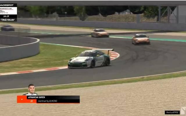 Das erste Rennen des virtuellen Porsche 1 Mobil Supercup stieg in Barcelona