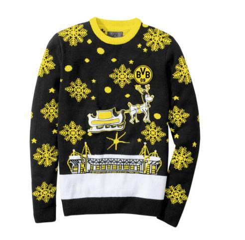Hässliche Weihnachts-Sweater liegen total im Trend. Auch die Bundesliga-Klubs sind voll auf den Zug aufgesprungen. Bei Borussia Dortmund schneit es dieses Jahr in gelb. SPORT1 zeigt die schrägsten Pullover für das Weihnachtsfest