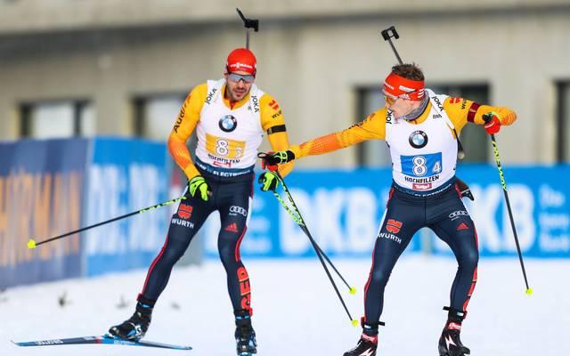 Arnd Peiffer (l.) und Benedikt Doll führen das deutsche Sprint-Aufgebot an