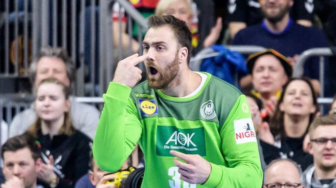 COLOGNE, GERMANY - JANUARY 23: Andreas Wolff of Germany reacts during the Main Group 1 match on the 26th IHF Men's World Championship between Germany and Spain at the Lanxess Arena on January 23, 2019 in Cologne, Germany. (Photo by Jörg Schüler/Getty Images)