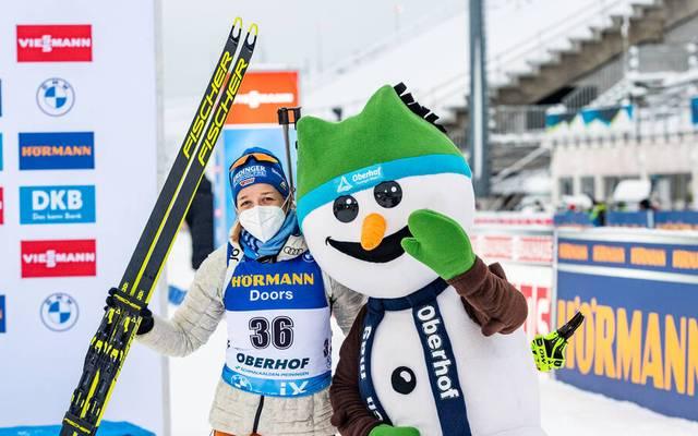 Franziska Preuß freute sich über Platz sechs im Sprint von Oberhof