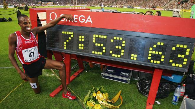 BRUSSELS, BELGIUM - SEPTEMBER 3: Shaheen Saif Saaeed of Qatar celebrates breaking the world 3000m Steple Chase record at the IAAF Golden League Meet in the Roi Baudouin Stadium on September 3, 2004 in Brussels, Belgium. (Photo by Clive Rose/Getty Images)