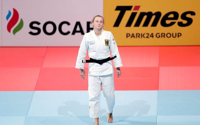 TOKYO, JAPAN - AUGUST 28: Martyna Trajdos of Germany reacts after her default victory in the Women's -63kg bronze medal bout against Tina Trstenjak of Slovenia on day four of the World Judo Championships at the Nippon Budokan on August 28, 2019 in Tokyo, Japan. (Photo by Kiyoshi Ota/Getty Images)