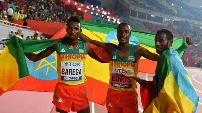 Die Äthiopier haben nach dem 5000-Meter-Rennen Grund zur Freude