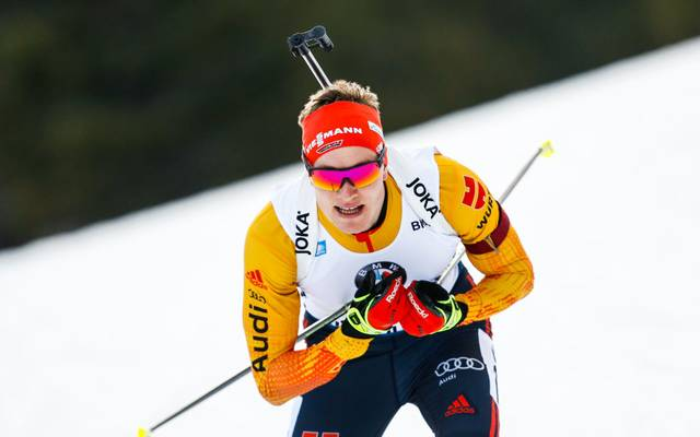 RUHPOLDING, GERMANY - JANUARY 16: Benedikt Doll of Germany takes 3rd place during the IBU Biathlon World Cup Men's 10 km Sprint Competition on January 16, 2020 in Ruhpolding, Germany. (Photo by Stanko Gruden/Agence Zoom/Getty Images)