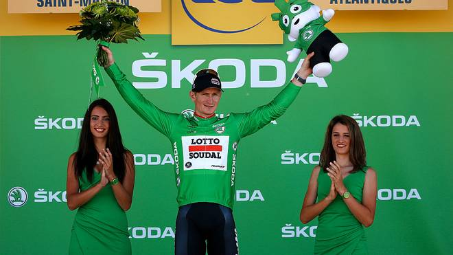 LA PIERRE-SAINT-MARTIN, FRANCE - JULY 14:  Andre Greipel of Germany and Lotto-Soudal celebrates as he receives the green points jersey after stage ten of the 2015 Tour de France, a 167 km stage between Tarbes and La Pierre-Saint-Martin, on July 14, 2015 in La Pierre-Saint-Martin, France.  (Photo by Doug Pensinger/Getty Images)