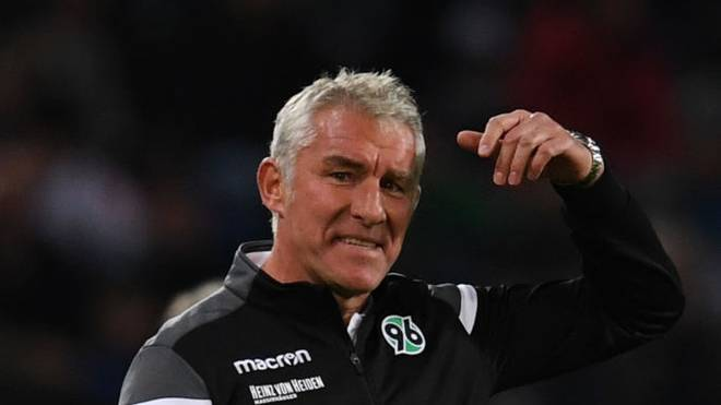 HANOVER, GERMANY - SEPTEMBER 30: Head coach Mirko Slomka of Hannover 96 reacts during the Second Bundesliga match between Hannover 96 and 1. FC Nürnberg at HDI-Arena on September 30, 2019 in Hanover, Germany. (Photo by Oliver Hardt/Bongarts/Getty Images)