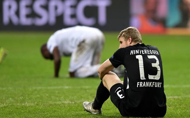 FRANKFURT AM MAIN, GERMANY - DECEMBER 12: Martin Hinteregger of Eintracht Frankfurt looks dejected following the UEFA Europa League group F match between Eintracht Frankfurt and Vitoria Guimaraes at  on December 12, 2019 in Frankfurt am Main, Germany. (Photo by Alexander Scheuber/Getty Images)
