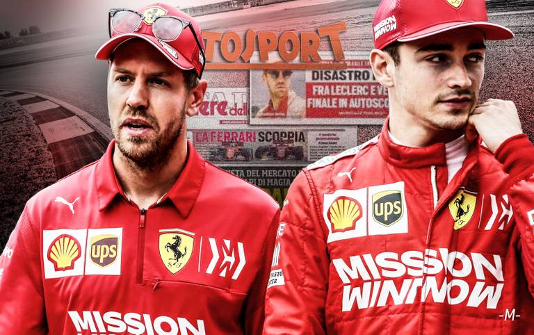Beim Brasilien-GP kommt es zu einem folgenschweren Crash der beiden Ferrari-Teamkollegen Charles Leclerc (l.) und Sebastian Vettel. Die internationale Presse stürzt sich natürlich auf den teaminternen Zoff bei der Scuderia. SPORT1 fasst die internationalen Pressestimmen zusammen