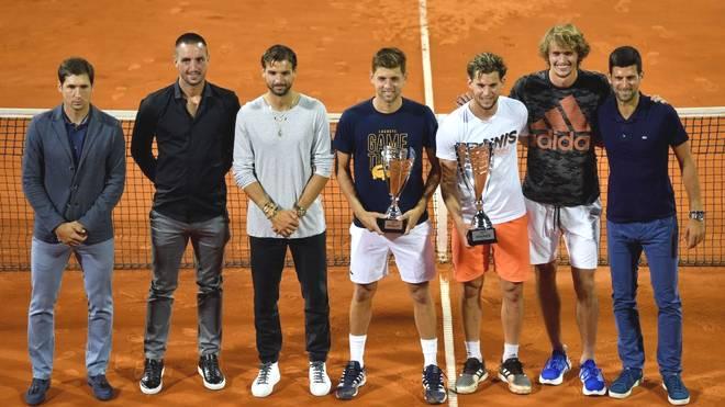 Novak Djokovic organisierte ein Turnier, an dem auch Alexander Zverev und Dominic Thiem (v.r.) teilnahmen