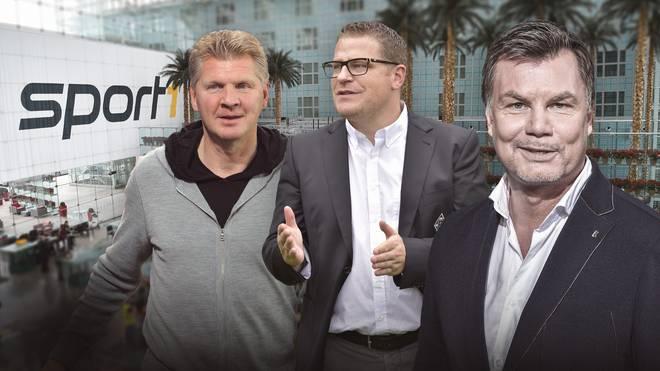 Zu Gast bei Thomas Helmer (r.) sind u.a. Max Eberl (m.) und Stefan Effenberg