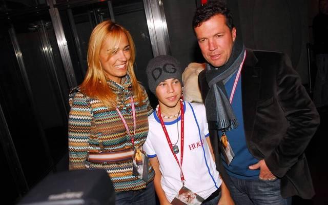 Lothar Matthäus 2006 mit seiner damaligen Frau Marianna und seinem Sohn Loris