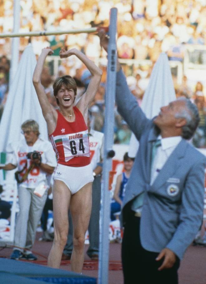 Stefka Kostadinova feiert ihren Weltrekordsprung in Rom