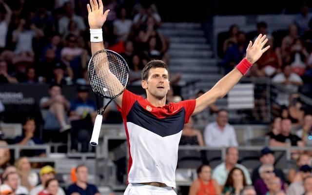 Novak Djokovic feiert seinen Sieg über Kevin Anderson