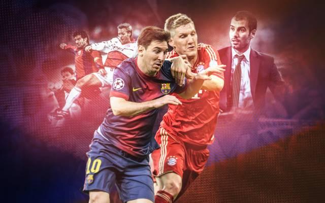 Lionel Messi (l.) musste sich auch schon auf Klubebene mit Bastian Schweinsteiger auseinandersetzen. 2014 geschah das auch im WM-Finale