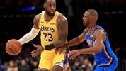 LOS ANGELES, CALIFORNIA - NOVEMBER 19:  LeBron James #23 of the Los Angeles Lakers controls the ball against Chris Paul #3 of the Oklahoma City Thunder during the second half of a game at Staples Center on November 19, 2019 in Los Angeles, California.  NOTE TO USER: User expressly acknowledges and agrees that, by downloading and/or using this photograph, user is consenting to the terms and conditions of the Getty Images License Agreement (Photo by Sean M. Haffey/Getty Images)