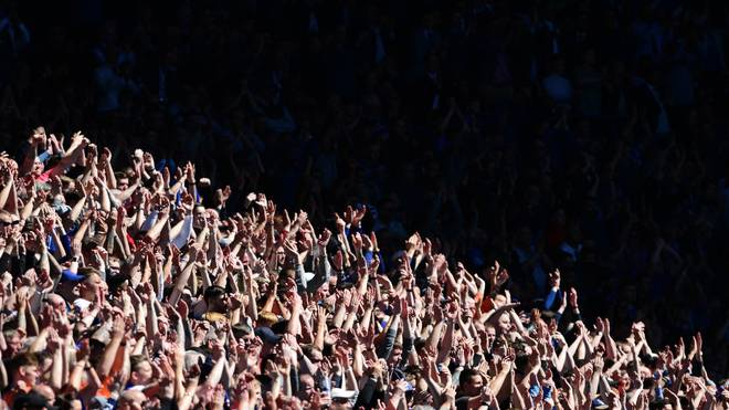 GLASGOW, SCOTLAND - MAY 12: Rangers fans watch the game in the brilliant sunshine during the Ladbrokes Scottish Premiership match between Rangers and Celtic at Ibrox Stadium on May 12, 2019 in Glasgow, Scotland. (Photo by Mark Runnacles/Getty Images)