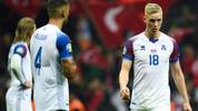 Iceland's defender Hordur Magnusson (R) reacts at the end of the UEFA Euro 2020 qualifying Group H group match between Turkey and Iceland at Turk Telekom Stadium in Istanbul, on November 14, 2019. (Photo by BULENT KILIC / AFP) (Photo by BULENT KILIC/AFP via Getty Images)