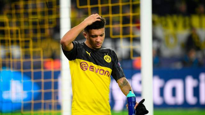 Dortmund's English midfielder Jadon Sancho comes off during the UEFA Champions League Group F football match BVB Borussia Dortmund v Inter Milan in Dortmund, western Germany, on November 5, 2019. (Photo by INA FASSBENDER / AFP) (Photo by INA FASSBENDER/AFP via Getty Images)