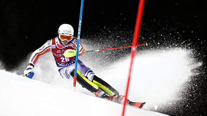 MADONNA DI CAMPIGLIO, ITALY - JANUARY 8: Linus Strasser of Germany in action during the Audi FIS Alpine Ski World Cup Men's Slalom on January 8, 2020 in Madonna di Campiglio Italy. (Photo by Christophe Pallot/Agence Zoom/Getty Images)