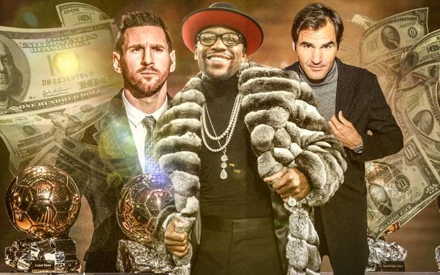 Lionel Messi, Floyd Mayweather, Roger Federer (v.l.) und die Top-Verdiener des Sports